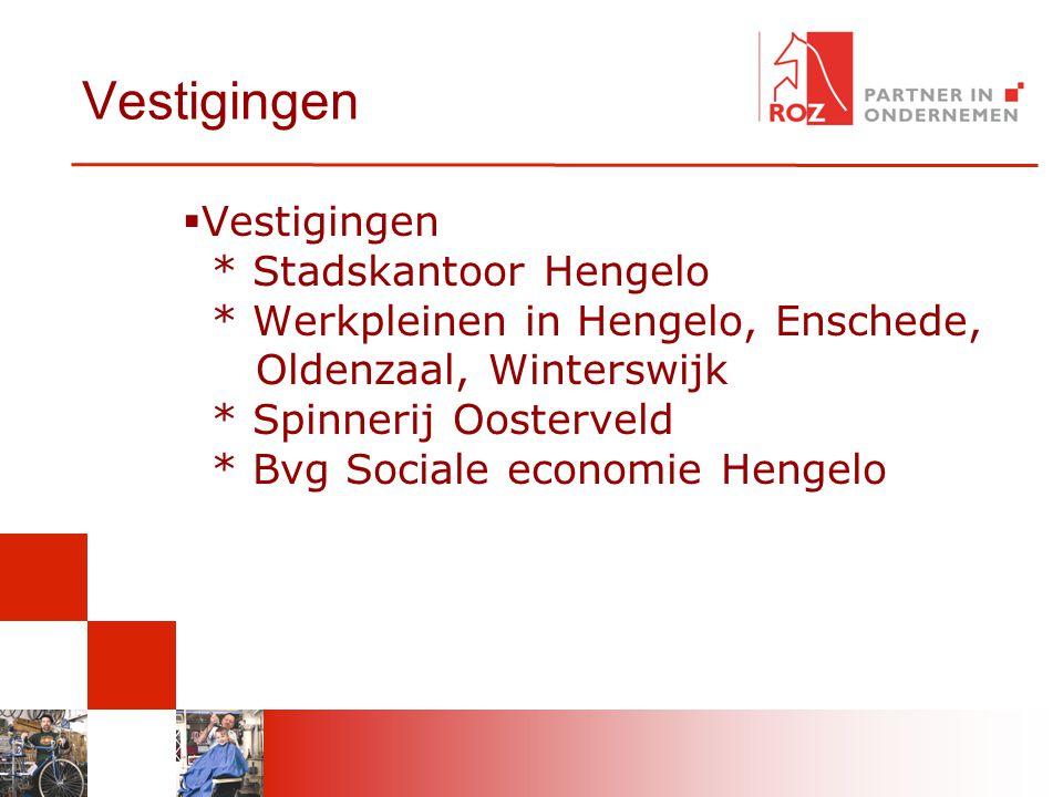 Vestigingen  Vestigingen * Stadskantoor Hengelo * Werkpleinen in Hengelo, Enschede, Oldenzaal, Winterswijk * Spinnerij Oosterveld * Bvg Sociale econo