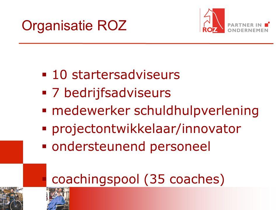 Organisatie ROZ  10 startersadviseurs  7 bedrijfsadviseurs  medewerker schuldhulpverlening  projectontwikkelaar/innovator  ondersteunend personee