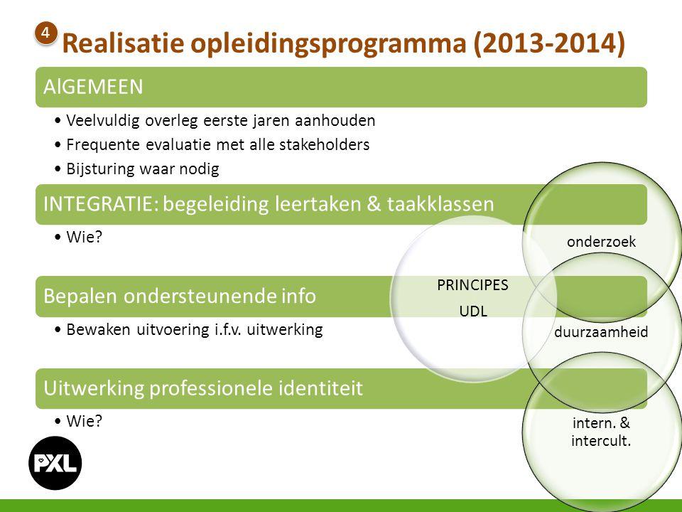 Realisatie opleidingsprogramma (2013-2014) 4 4 AlGEMEEN Veelvuldig overleg eerste jaren aanhouden Frequente evaluatie met alle stakeholders Bijsturing