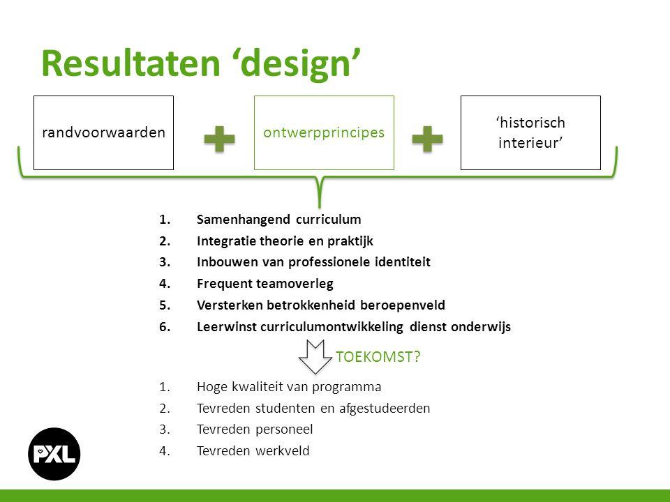 1.Samenhangend curriculum 2.Integratie theorie en praktijk 3.Inbouwen van professionele identiteit 4.Frequent teamoverleg 5.Versterken betrokkenheid b