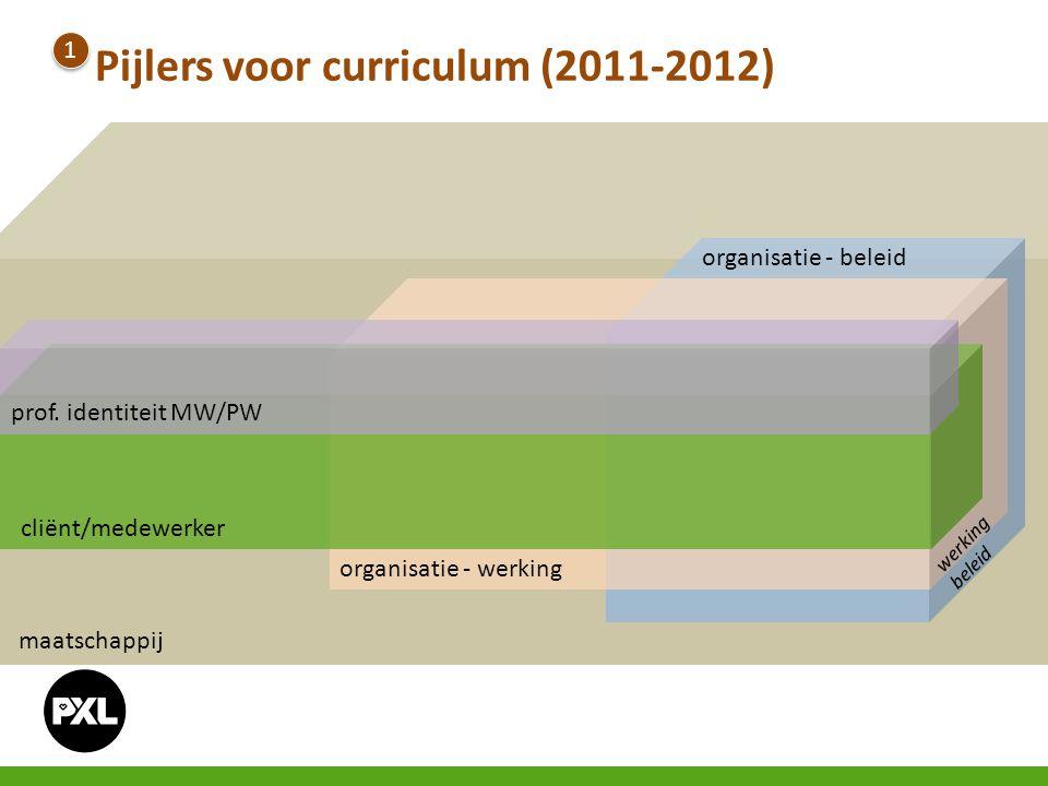 organisatie - werking maatschappij prof. identiteit MW/PW cliënt/medewerker organisatie - beleid werking beleid Pijlers voor curriculum (2011-2012) 1