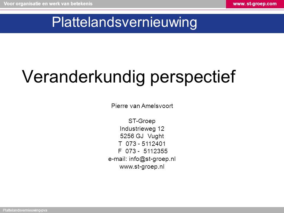 Voor organisatie en werk van betekeniswww. st-groep.com Plattelandsvernieuwing-pva Plattelandsvernieuwing Veranderkundig perspectief Pierre van Amelsv