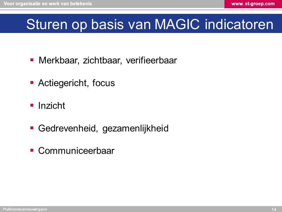 Voor organisatie en werk van betekeniswww. st-groep.com Plattelandsvernieuwing-pva Sturen op basis van MAGIC indicatoren  Merkbaar, zichtbaar, verifi