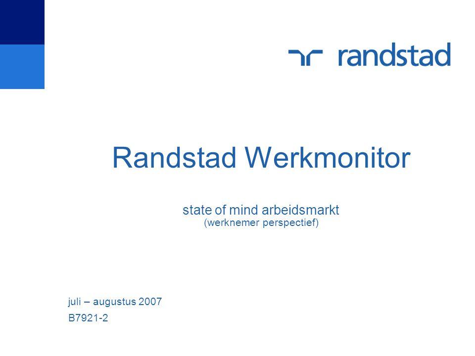 Randstad Werkmonitor state of mind arbeidsmarkt (werknemer perspectief) juli – augustus 2007 B7921-2