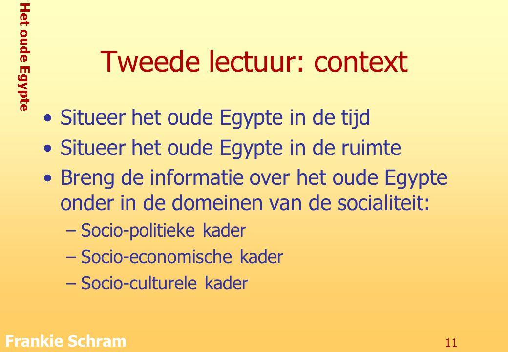 Het oude Egypte Frankie Schram 11 Tweede lectuur: context Situeer het oude Egypte in de tijd Situeer het oude Egypte in de ruimte Breng de informatie over het oude Egypte onder in de domeinen van de socialiteit: –Socio-politieke kader –Socio-economische kader –Socio-culturele kader