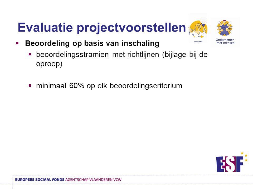  Beoordeling op basis van inschaling  beoordelingsstramien met richtlijnen (bijlage bij de oproep)  minimaal 60% op elk beoordelingscriterium Evaluatie projectvoorstellen