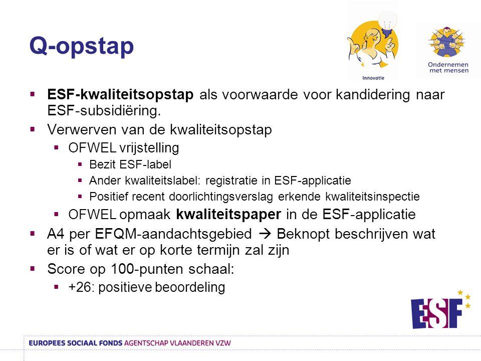 Q-opstap  ESF-kwaliteitsopstap als voorwaarde voor kandidering naar ESF-subsidiëring.