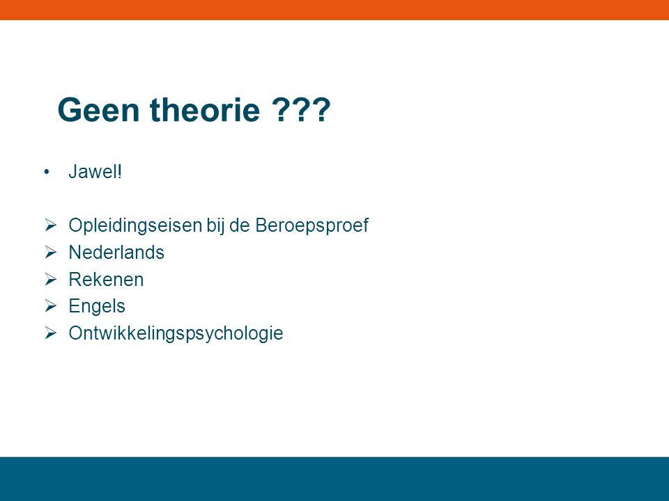 Geen theorie ??? Jawel!  Opleidingseisen bij de Beroepsproef  Nederlands  Rekenen  Engels  Ontwikkelingspsychologie MBO landstede