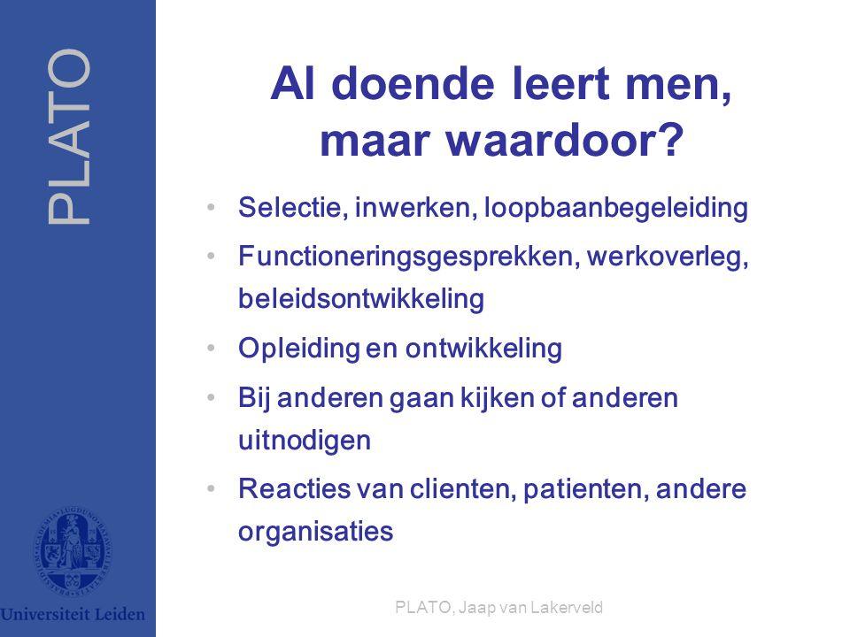 PLATO PLATO, Jaap van Lakerveld Al doende leert men, maar waardoor? Selectie, inwerken, loopbaanbegeleiding Functioneringsgesprekken, werkoverleg, bel