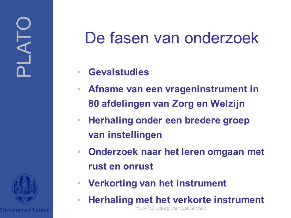 PLATO PLATO, Jaap van Lakerveld De fasen van onderzoek Gevalstudies Afname van een vrageninstrument in 80 afdelingen van Zorg en Welzijn Herhaling ond