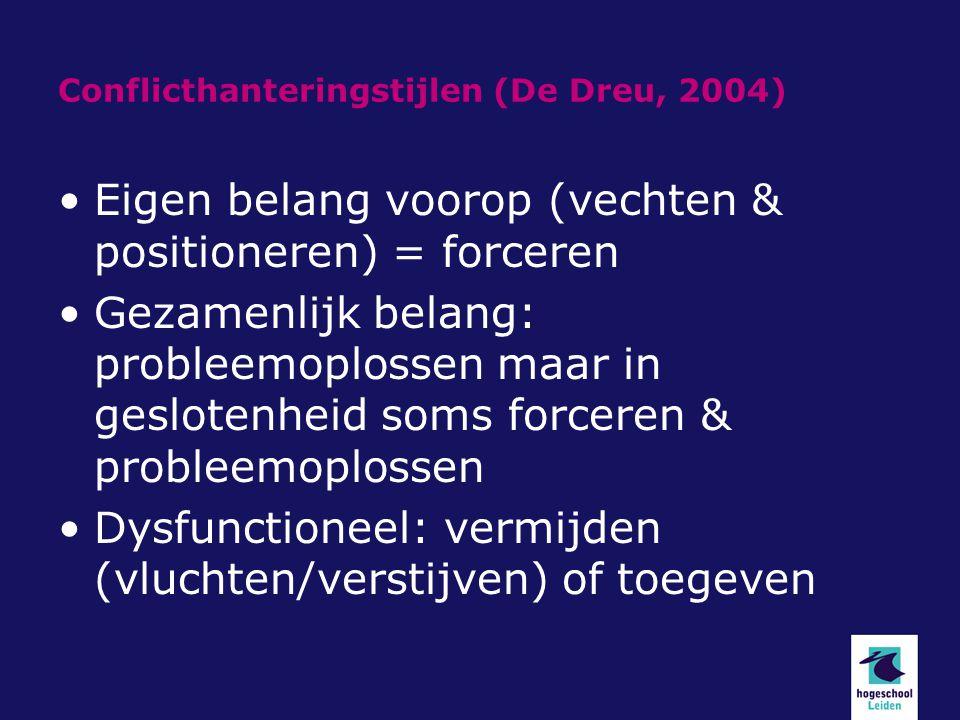 Conflicthanteringstijlen (De Dreu, 2004) Eigen belang voorop (vechten & positioneren) = forceren Gezamenlijk belang: probleemoplossen maar in gesloten
