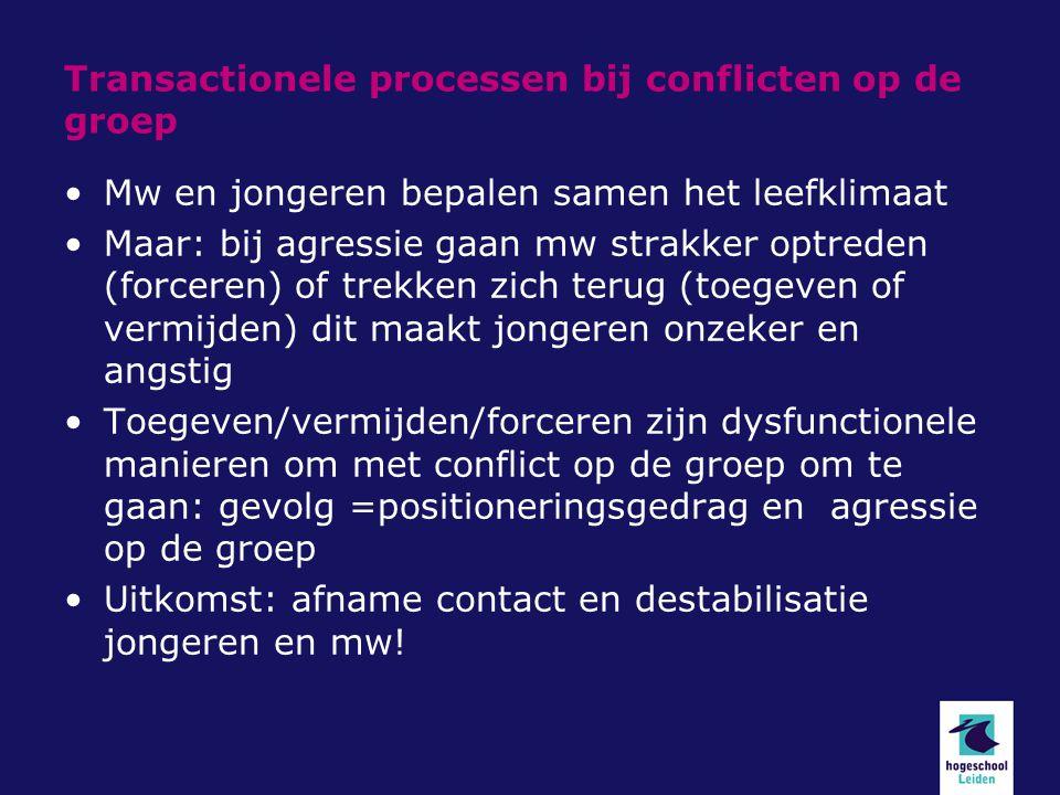 Transactionele processen bij conflicten op de groep Mw en jongeren bepalen samen het leefklimaat Maar: bij agressie gaan mw strakker optreden (forcere
