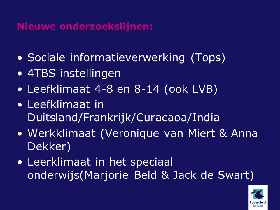Nieuwe onderzoekslijnen: Sociale informatieverwerking (Tops) 4TBS instellingen Leefklimaat 4-8 en 8-14 (ook LVB) Leefklimaat in Duitsland/Frankrijk/Cu