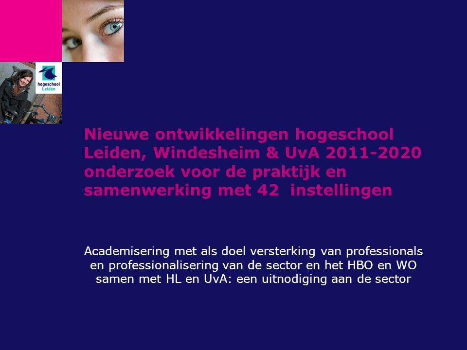 Nieuwe ontwikkelingen hogeschool Leiden, Windesheim & UvA 2011-2020 onderzoek voor de praktijk en samenwerking met 42 instellingen Academisering met a
