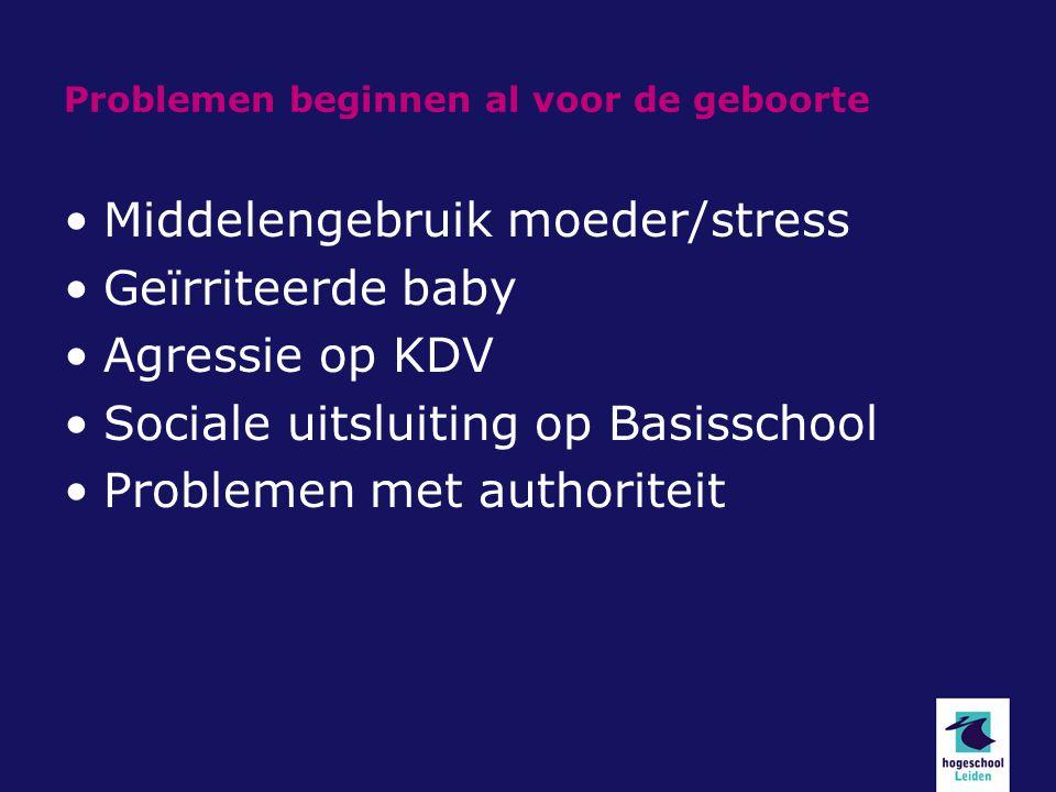 Problemen beginnen al voor de geboorte Middelengebruik moeder/stress Geïrriteerde baby Agressie op KDV Sociale uitsluiting op Basisschool Problemen me