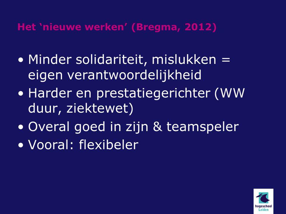 Het 'nieuwe werken' (Bregma, 2012) Minder solidariteit, mislukken = eigen verantwoordelijkheid Harder en prestatiegerichter (WW duur, ziektewet) Overa