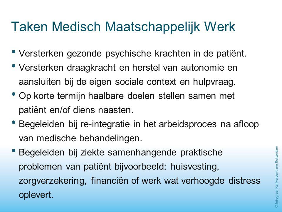 Taken Medisch Maatschappelijk Werk Versterken gezonde psychische krachten in de patiënt. Versterken draagkracht en herstel van autonomie en aansluiten