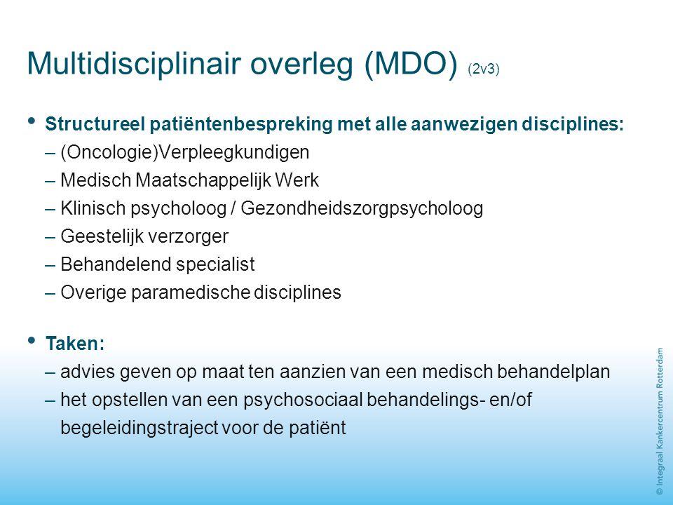 Multidisciplinair overleg (MDO) (2v3) Structureel patiëntenbespreking met alle aanwezigen disciplines: – (Oncologie)Verpleegkundigen – Medisch Maatsch