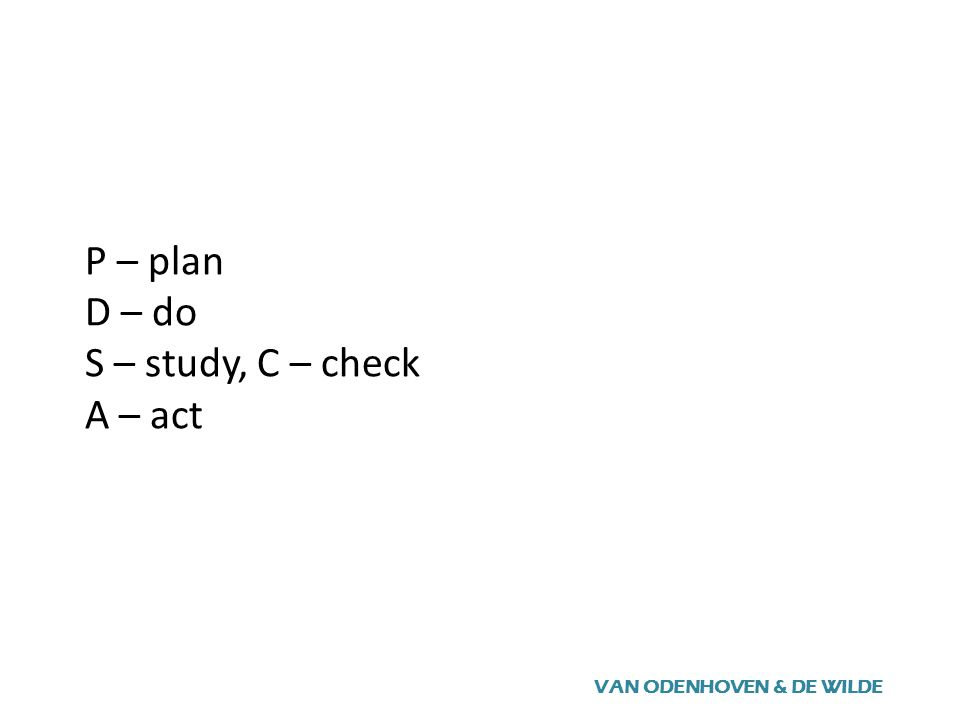 P – plan D – do S – study, C – check A – act VAN ODENHOVEN & DE WILDE