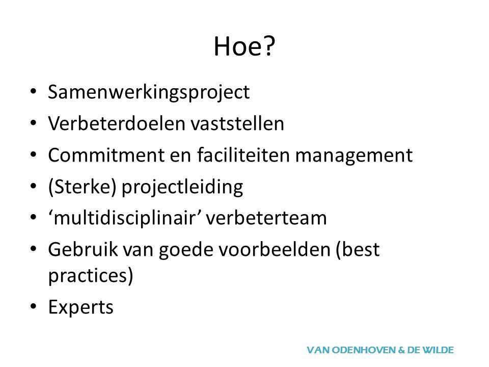 Hoe? VAN ODENHOVEN & DE WILDE Samenwerkingsproject Verbeterdoelen vaststellen Commitment en faciliteiten management (Sterke) projectleiding 'multidisc