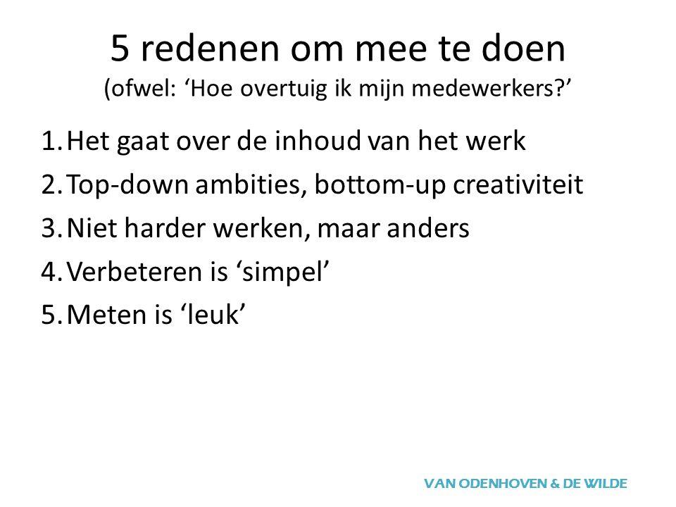 5 redenen om mee te doen (ofwel: 'Hoe overtuig ik mijn medewerkers ' VAN ODENHOVEN & DE WILDE 1.Het gaat over de inhoud van het werk 2.Top-down ambities, bottom-up creativiteit 3.Niet harder werken, maar anders 4.Verbeteren is 'simpel' 5.Meten is 'leuk'
