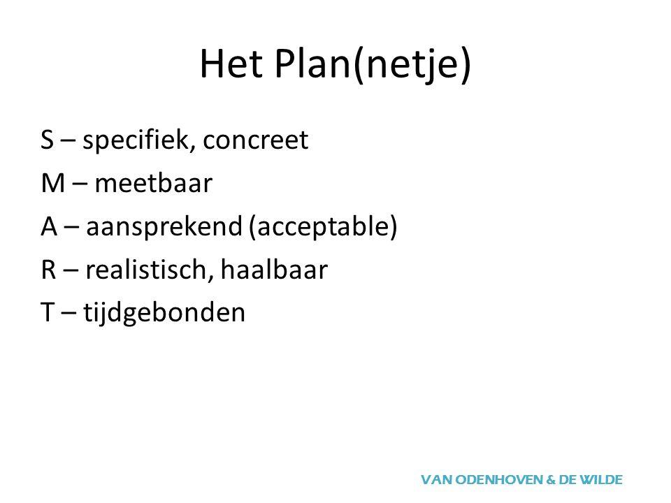 Het Plan(netje) VAN ODENHOVEN & DE WILDE S – specifiek, concreet M – meetbaar A – aansprekend (acceptable) R – realistisch, haalbaar T – tijdgebonden