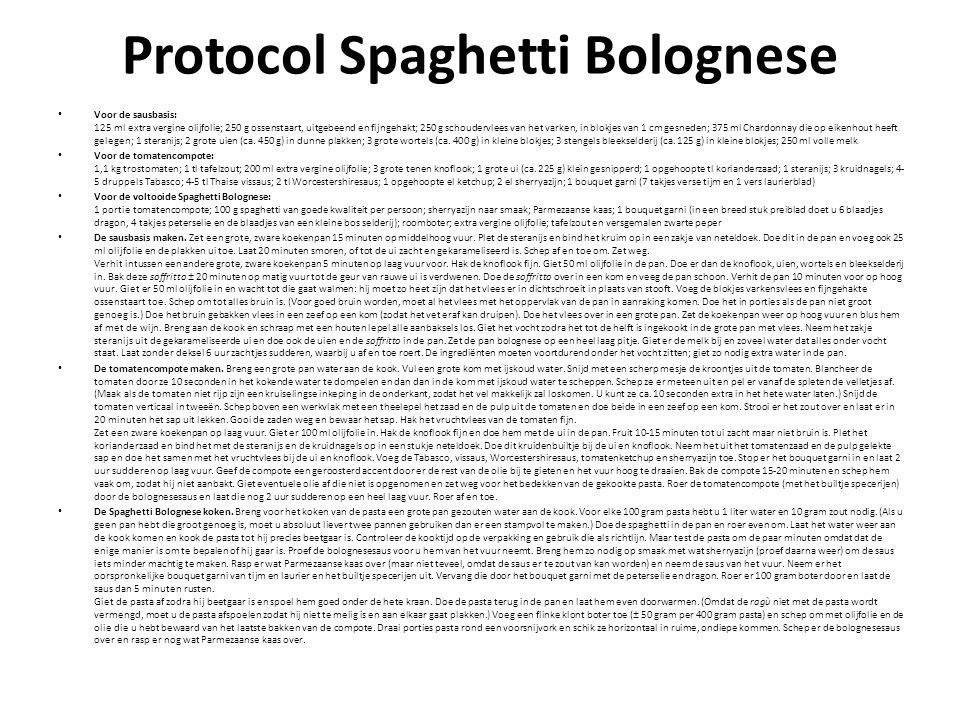 Protocol Spaghetti Bolognese Voor de sausbasis: 125 ml extra vergine olijfolie; 250 g ossenstaart, uitgebeend en fijngehakt; 250 g schoudervlees van het varken, in blokjes van 1 cm gesneden; 375 ml Chardonnay die op eikenhout heeft gelegen; 1 steranijs; 2 grote uien (ca.
