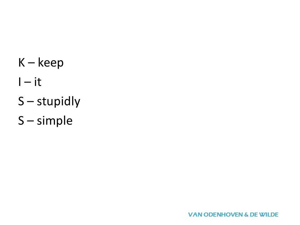VAN ODENHOVEN & DE WILDE K – keep I – it S – stupidly S – simple