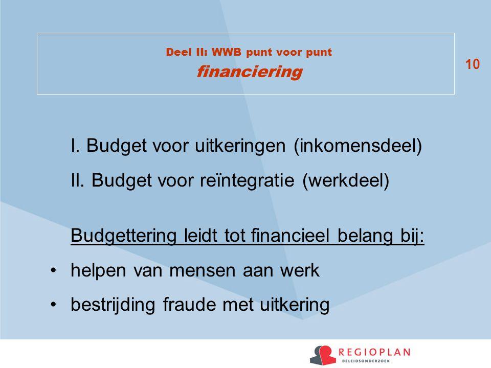 10 Deel II: WWB punt voor punt financiering I. Budget voor uitkeringen (inkomensdeel) II. Budget voor reïntegratie (werkdeel) Budgettering leidt tot f