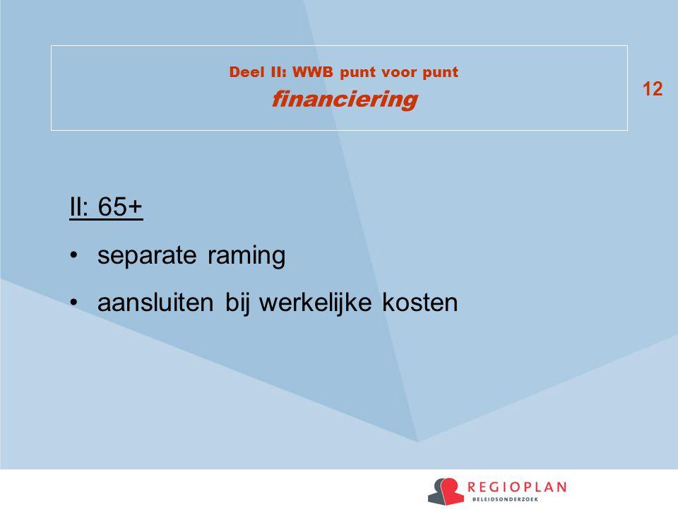 12 Deel II: WWB punt voor punt financiering II: 65+ separate raming aansluiten bij werkelijke kosten