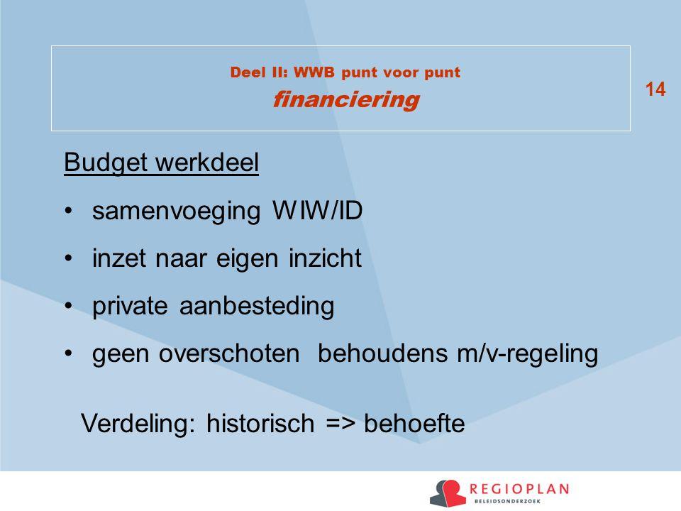 14 Deel II: WWB punt voor punt financiering Budget werkdeel samenvoeging WIW/ID inzet naar eigen inzicht private aanbesteding geen overschoten behoudens m/v-regeling Verdeling: historisch => behoefte