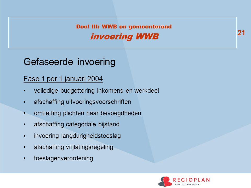 21 Deel III: WWB en gemeenteraad invoering WWB Fase 1 per 1 januari 2004 volledige budgettering inkomens en werkdeel afschaffing uitvoeringsvoorschrif