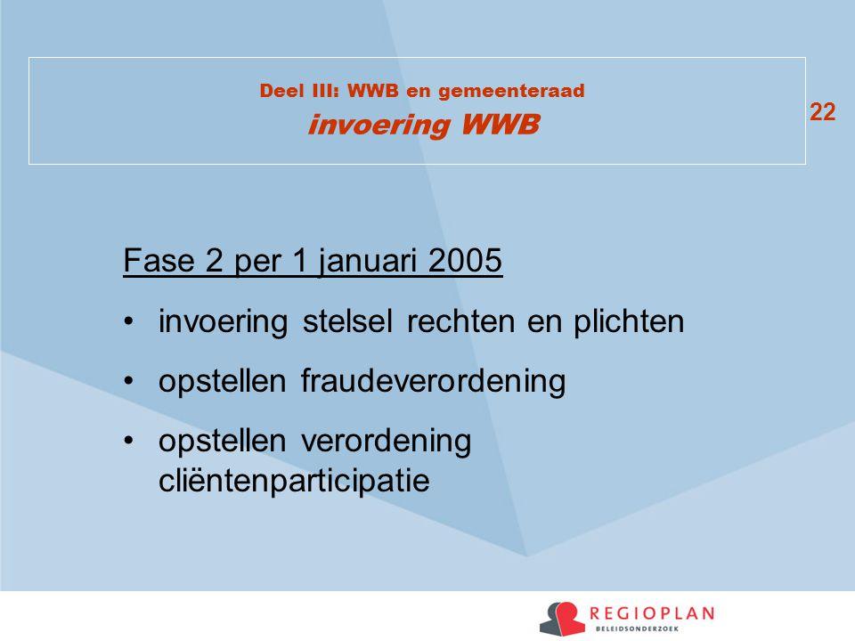 22 Deel III: WWB en gemeenteraad invoering WWB Fase 2 per 1 januari 2005 invoering stelsel rechten en plichten opstellen fraudeverordening opstellen verordening cliëntenparticipatie