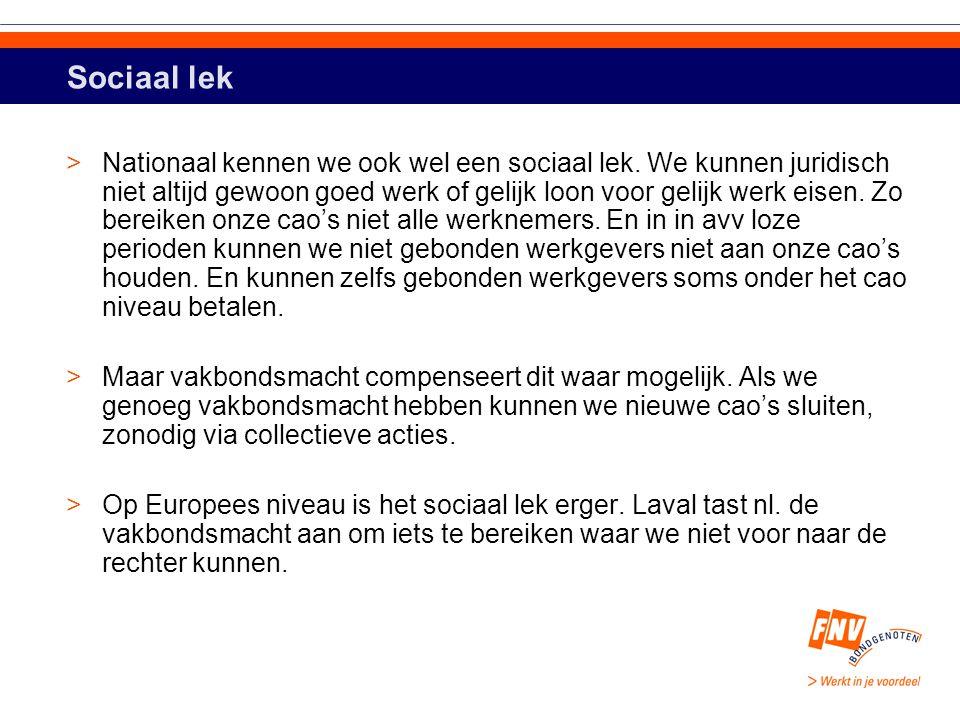 Sociaal lek >Nationaal kennen we ook wel een sociaal lek.