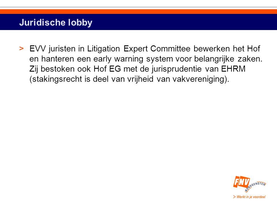 Juridische lobby >EVV juristen in Litigation Expert Committee bewerken het Hof en hanteren een early warning system voor belangrijke zaken.