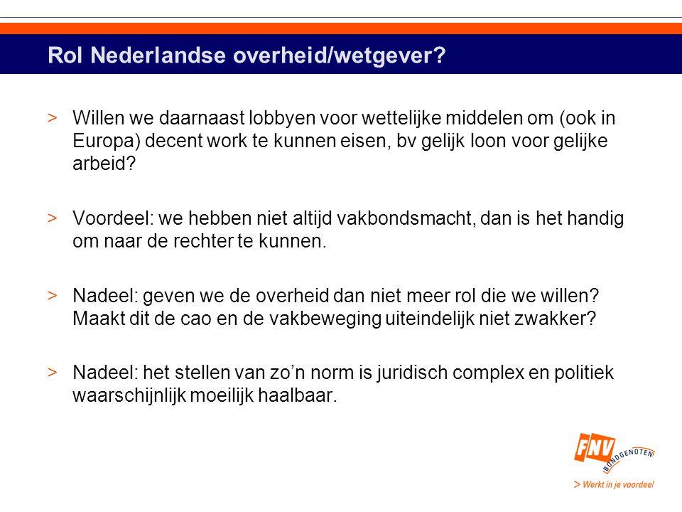 Rol Nederlandse overheid/wetgever.