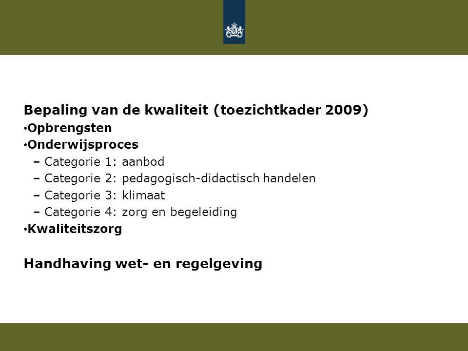 Bepaling van de kwaliteit (toezichtkader 2009) Opbrengsten Onderwijsproces Categorie 1: aanbod Categorie 2: pedagogisch-didactisch handelen Categorie 3: klimaat Categorie 4: zorg en begeleiding Kwaliteitszorg Handhaving wet- en regelgeving