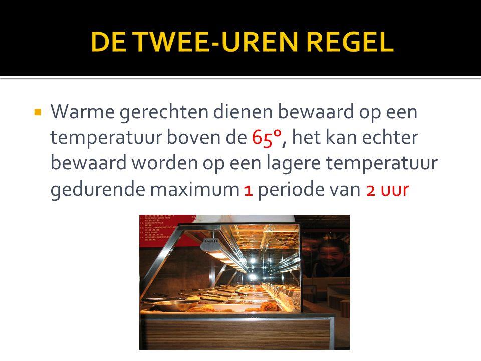 Warme gerechten dienen bewaard op een temperatuur boven de 65°, het kan echter bewaard worden op een lagere temperatuur gedurende maximum 1 periode