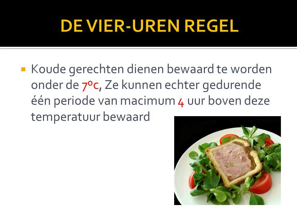  Koude gerechten dienen bewaard te worden onder de 7ºc, Ze kunnen echter gedurende één periode van macimum 4 uur boven deze temperatuur bewaard