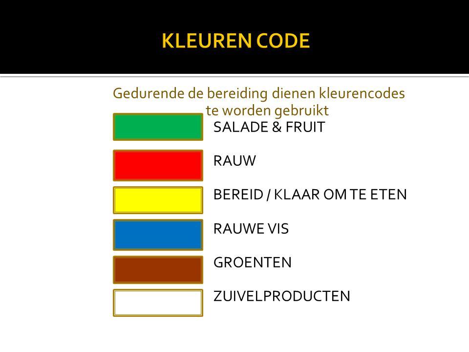 Gedurende de bereiding dienen kleurencodes te worden gebruikt SALADE & FRUIT RAUW BEREID / KLAAR OM TE ETEN RAUWE VIS GROENTEN ZUIVELPRODUCTEN