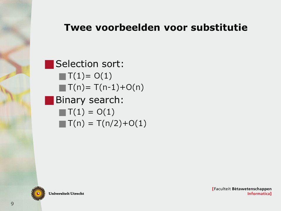 10 Methode 2: De recursie-boom  Analyseer de recursie-boom  Hoeveel niveau's heeft de boom.
