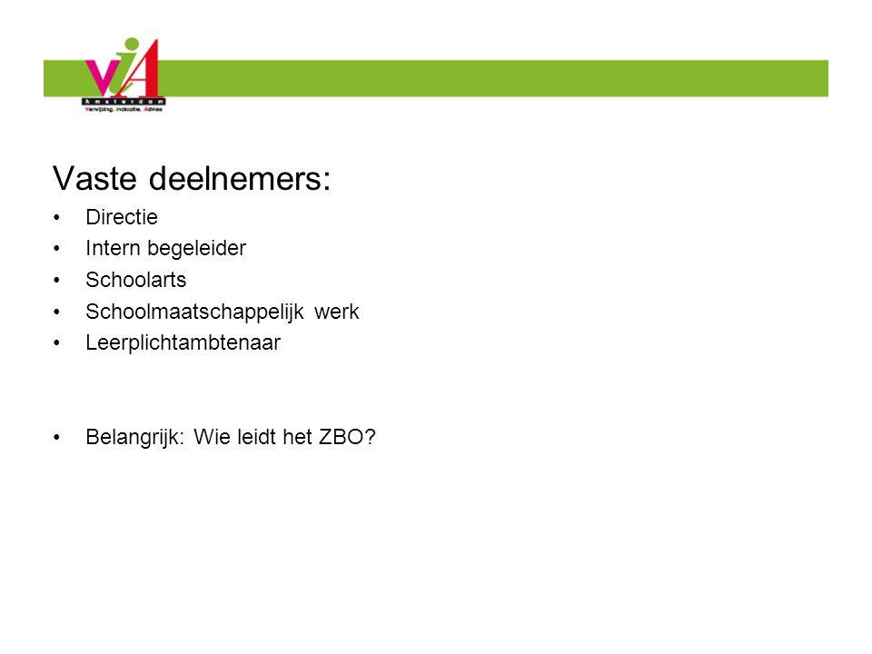 Vaste deelnemers: Directie Intern begeleider Schoolarts Schoolmaatschappelijk werk Leerplichtambtenaar Belangrijk: Wie leidt het ZBO