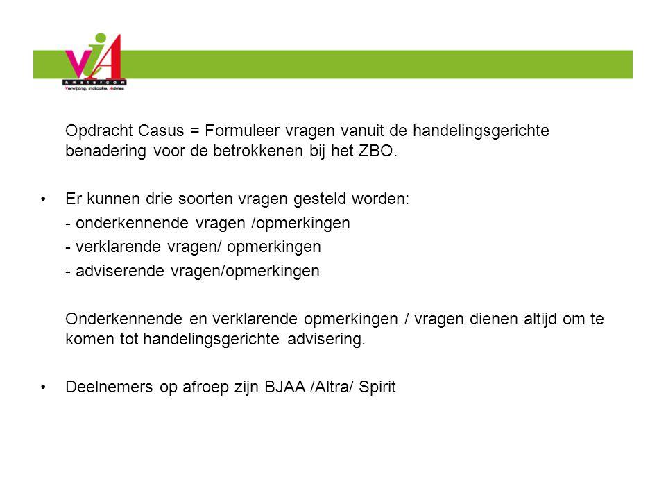 Opdracht Casus = Formuleer vragen vanuit de handelingsgerichte benadering voor de betrokkenen bij het ZBO.