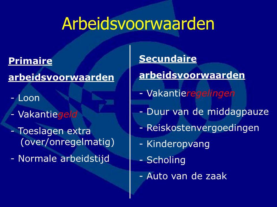 Primaire arbeidsvoorwaarden Secundaire arbeidsvoorwaarden - Loon - Vakantiegeld - Toeslagen extra (over/onregelmatig) - Normale arbeidstijd - Vakantie