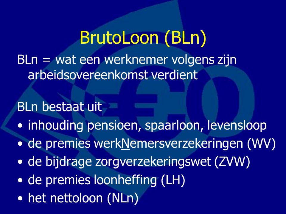 BrutoLoon (BLn) BLn = wat een werknemer volgens zijn arbeidsovereenkomst verdient BLn bestaat uit inhouding pensioen, spaarloon, levensloop de premies werkNemersverzekeringen (WV) de bijdrage zorgverzekeringswet (ZVW) de premies loonheffing (LH) het nettoloon (NLn)