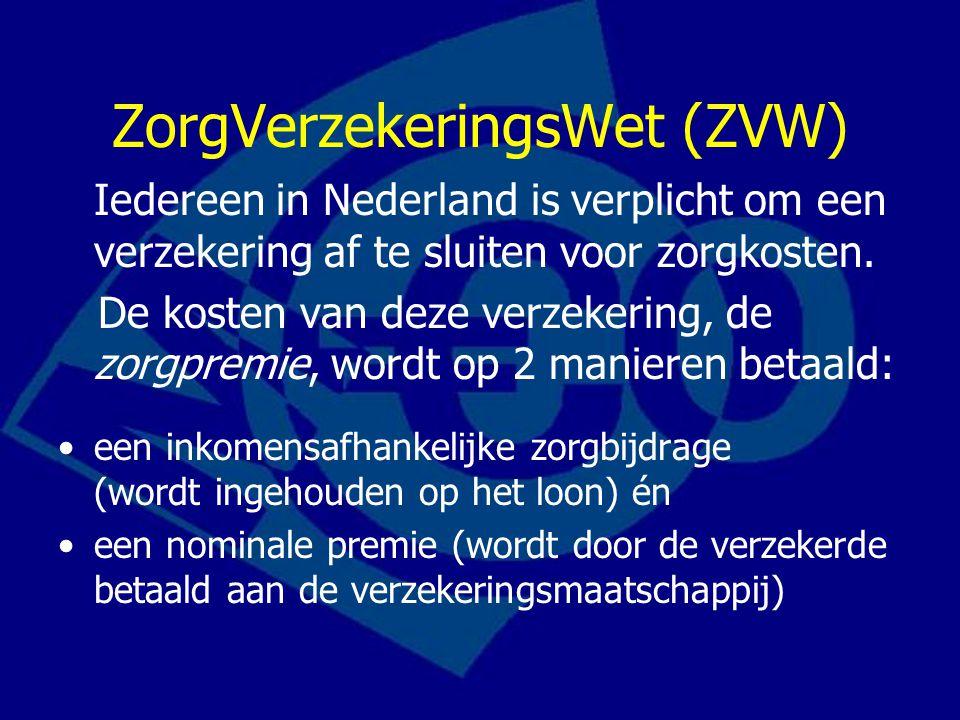 ZorgVerzekeringsWet (ZVW) Iedereen in Nederland is verplicht om een verzekering af te sluiten voor zorgkosten. De kosten van deze verzekering, de zorg