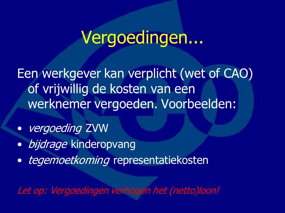 Vergoedingen... Een werkgever kan verplicht (wet of CAO) of vrijwillig de kosten van een werknemer vergoeden. Voorbeelden: vergoeding ZVW bijdrage kin
