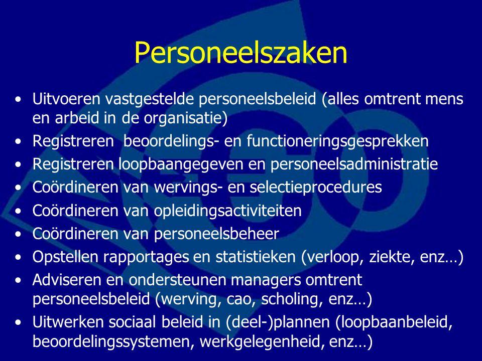 Personeelszaken Uitvoeren vastgestelde personeelsbeleid (alles omtrent mens en arbeid in de organisatie) Registreren beoordelings- en functioneringsge