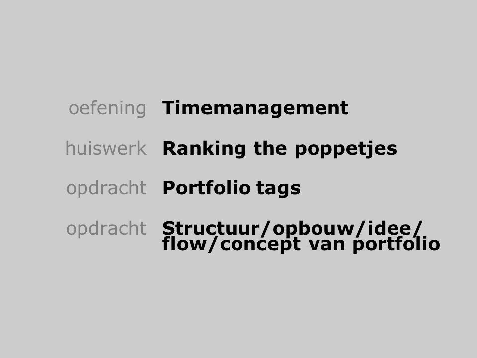 oefeningTimemanagement huiswerkRanking the poppetjes opdrachtPortfoliotags opdrachtStructuur/opbouw/idee/ flow/concept van portfolio