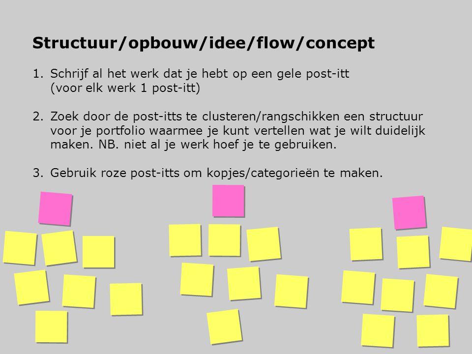 Structuur/opbouw/idee/flow/concept 1.Schrijf al het werk dat je hebt op een gele post-itt (voor elk werk 1 post-itt) 2.Zoek door de post-itts te clust